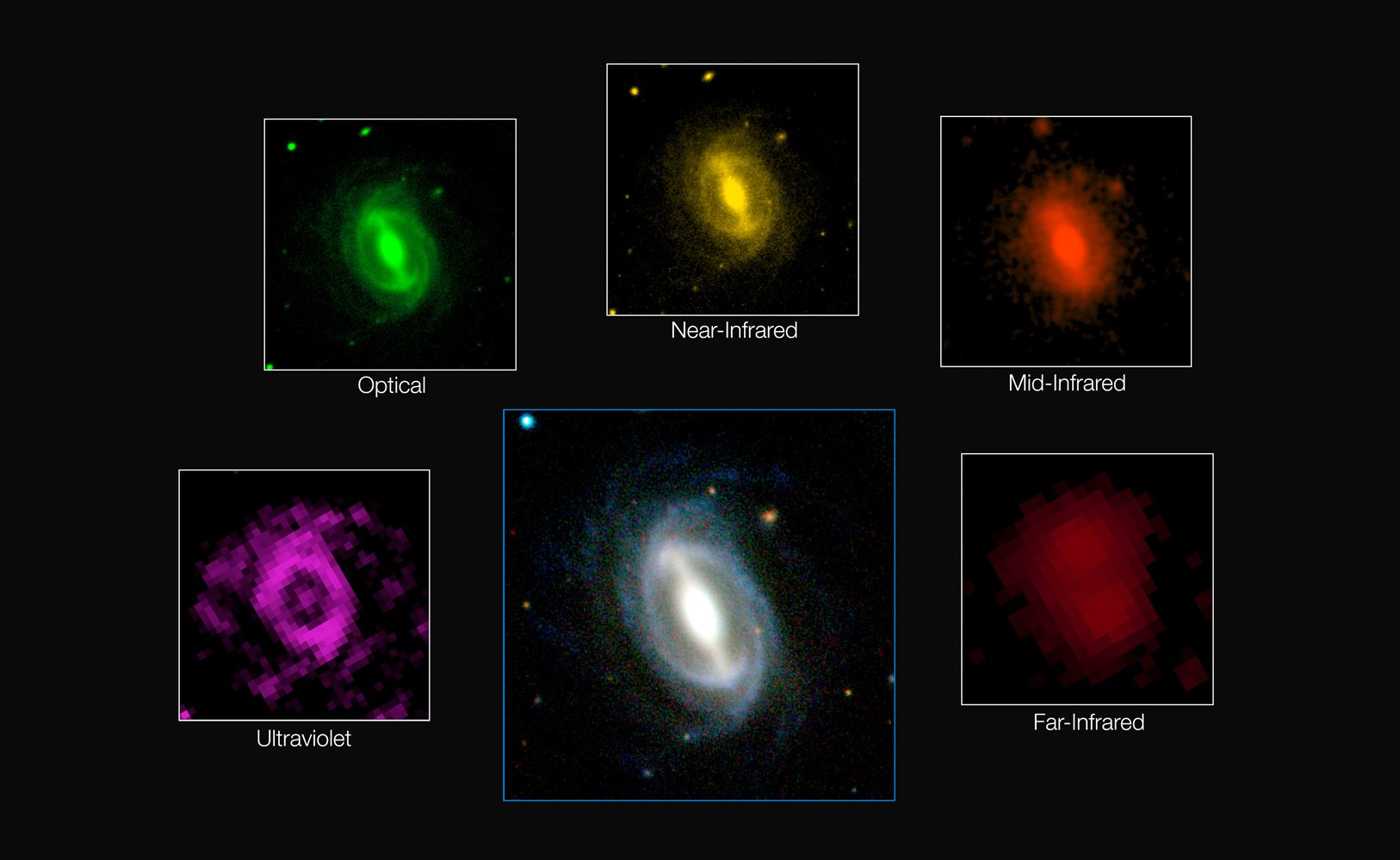 Die Bilder zeigen eine Galaxie in verschiedenen Wellenlängenbereichen.