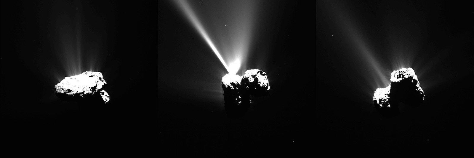 Diese Bilderserie des Kometen 67P/Churyumov–Gerasimenko wurde von Rosetta´s Osiris am 12. August aufgenommen, nur wenige Stunden bevor Tschuri auf seiner Reise durchs All den sonnennächsten Punkt erreichte.