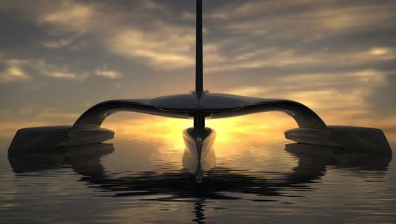 """An einem Trimaran – ein Boot mit dreiparallel angeordneten, schmalen Rümpfen –, das autonom segeln kann, arbeiten Wissenschaftler der Universität Plymouth und die Yacht-Design-Firma Shuttleworth. Das spacige Aussehen entspricht dem Projektnamen Mars, kurz für""""Mayflower Autonomous Research Ship""""."""