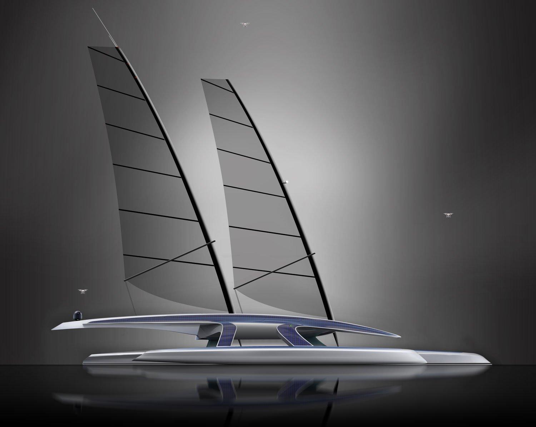 Mit einer speziellen Faltmechanik können die Segel des autonomen Forschungsschiffes Mayflower schnell eingeholt und platzsparend verstaut werden. Mit vollen Segeln könnte es Spitzengeschwindigkeiten von 20 Knoten, etwa 32 km/h, erreichen.