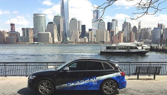 Audi SQ5 in New York: Delphi testete das autonome Auto auf der 5500 km langen Strecke von San Francisco zum Big Apple. 2016 wird es auf der Wuppertaler Landstraße zu sehen sein.