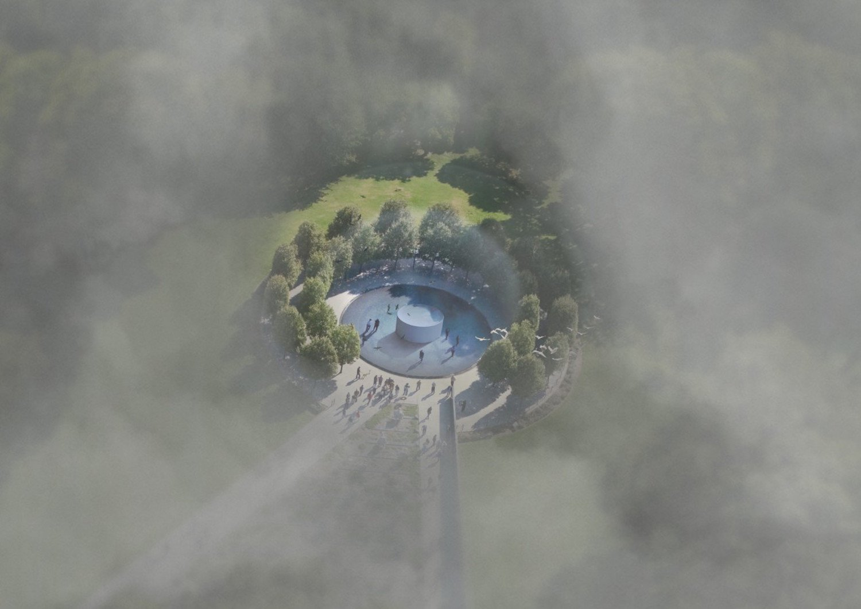 Der Luftreiniger-Turm ist 7 m hoch und erzeugt eine 60 m große Smog-freie Blase. Pro Stunde benötigt er 1700 W Leistung.