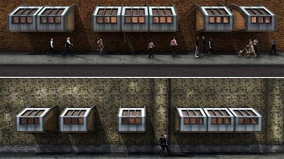 Die hölzernen Schlafkammern sollen in Überkopfhöhe an Hausfassaden angebracht werden.