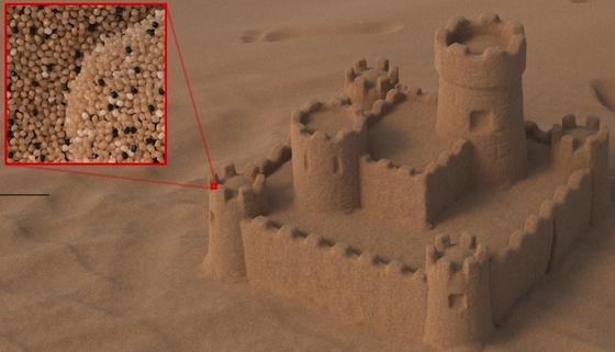 Auch eine digitale Sandburg besteht aus Millionen einzelner Körner. Ihre fotorealistische Darstellung per Computer wird nun recheneffizienter.
