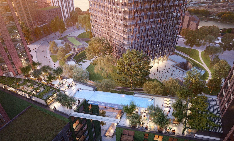 Nichts für Angsthasen: Der Sky-Pool soll zwei Londoner Hochhäuser in einer Höhe von 35 m miteinander verbinden.