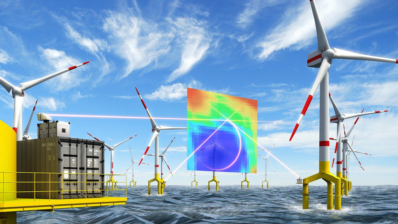 Mit einem laseroptischen 3D-Lidar Windscanner führten Forscher der Universität Oldenburg hochauflösende Windmessungen durch. Sie fanden heraus, dass Turbulenzen der Rotoren andere Windräder beeinflussen.