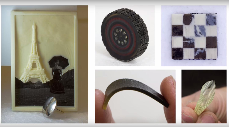 Druckerzeugnisse des Multifab:Zu den potentiellen Werkstoffen zum Drucken gehören laut MIT auch Nanopartikel aus verschiedenen Basismaterialien und biologisch verträgliche Stoffe.