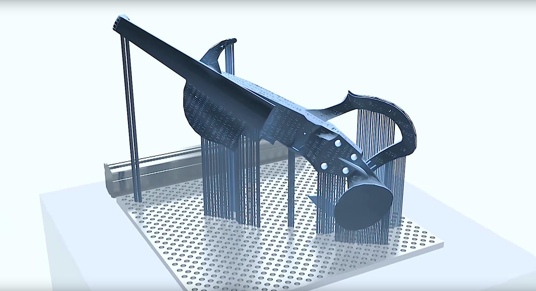 Konstruktion der 3Dvarius am Computer: Nach dem 24-stündigen Druck kam die E-Violine zur Aushärtung in einen UV-Ofen.