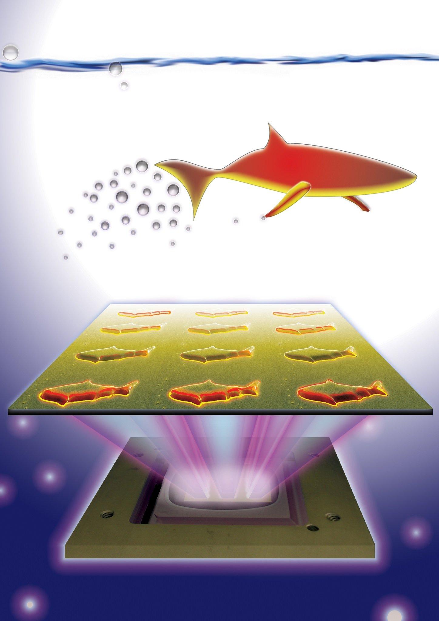 Die Flossen der Mikro-Fische enthalten Aluminiumpartikel. Diese reagieren mit Wasserstoffperoxid in Flüssigkeiten, wobei sich die Flosse in Bewegung setzt. Für die Steuerung werden in den Köpfen magnetische Eisenoxid-Nanopartikel installiert. Mit Hilfe von Magneten können die Fischköpfe dann ihr Ziel ansteuern.