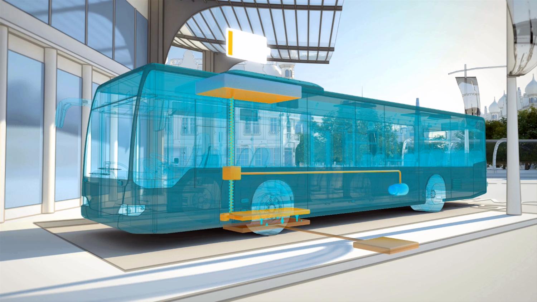 Induktives Ladesystem Primove von Bombardier: Unter dem Bus senkt sich ein Stromaufnehmer bis knapp über den Boden. Die Ladestation überträgt die Energie dann über ein Magnetfeld.