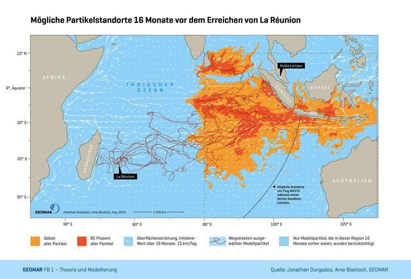 Mögliche Ursprungsorte der Modellpartikel, die aus dem östlichen Indischen Ozean stammen und nach 16 Monaten die Insel La Réunion erreichten, haben die Geomar-Forscher am Computer simuliert. Die Gebiete mit den höchsten Wahrscheinlichkeiten sind farblich hervorgehoben.