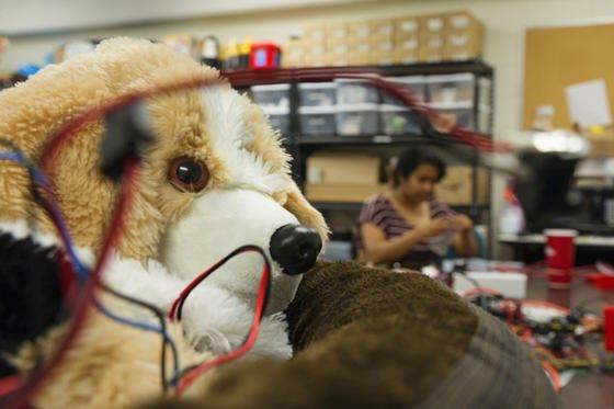 Der Therapiehund Therabot ist vollgestopft mit Technik: Im Inneren stecken Motoren, Sensoren, ein Beschleunigungsmesser und ein Gyroskop.