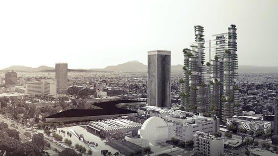 Illustration des Cloud Corridors:Verbindungswege, Balkone und Gärten sollen Bewohnern der neun Hochhäuser ein nachbarschaftliches Miteinander ermöglichen.