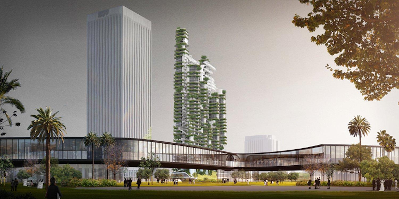 Das Architekturbüro hat auf einer Grundfläche von 9000 m2 an der Museum Row imZentrum von Los Angelesneun Hochhäuser mit unterschiedlicher Höhe geplant. Das höchste Gebäude ist 167 m hoch.