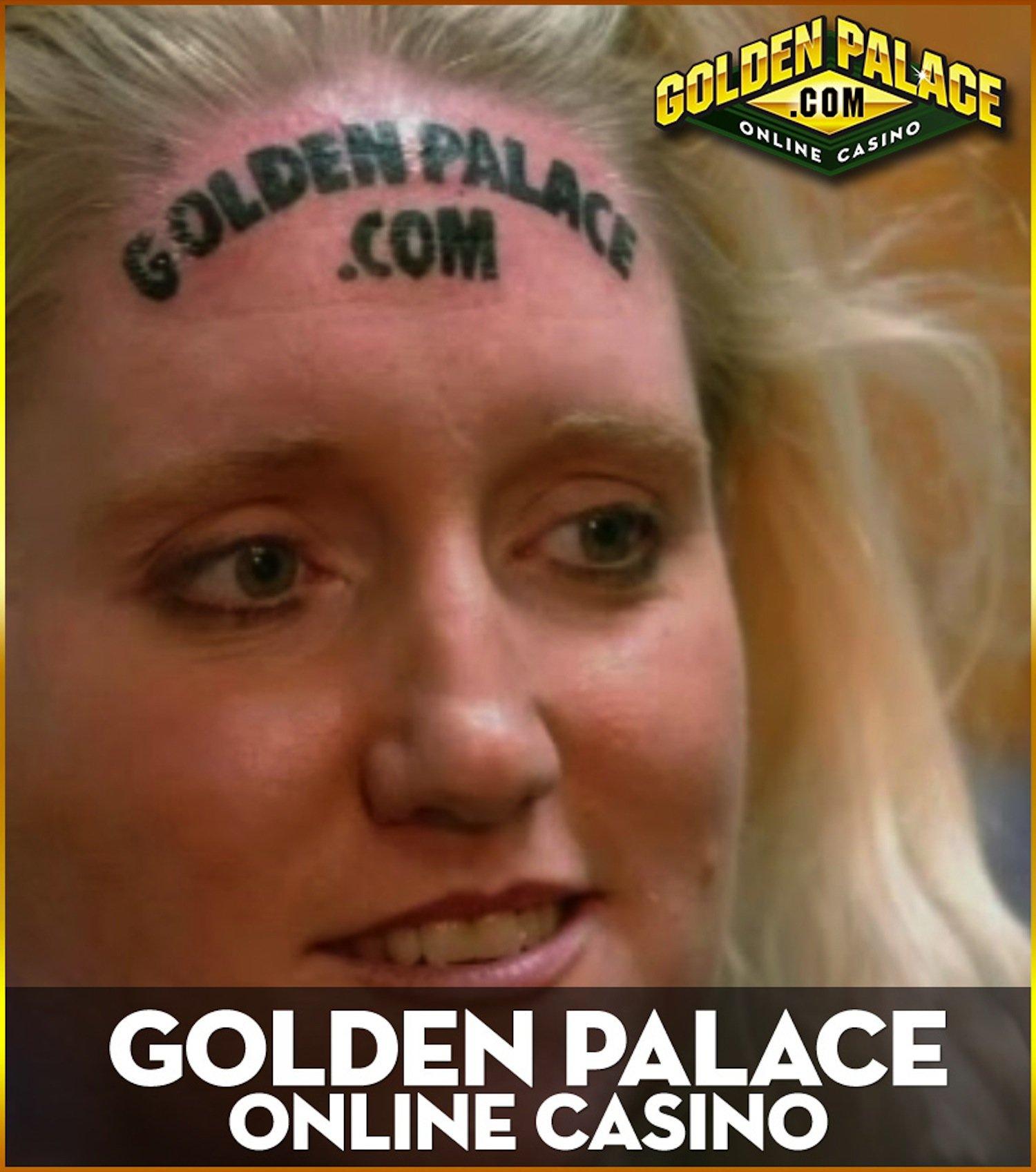 Für 10.000 $ ließ sich Karolyne Smith die Internetadresse des Online-Casinos Golden Palace auf die Stirn tätowieren.
