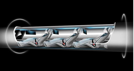 Transportkapsel des Hyperloop: Passagiere nehmen wie in einem Liegestuhl Platz. Sie schießen mit 1235 km/h durch die Vakuumröhre.