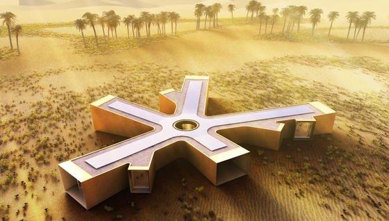 Das Bild zeigt keine gigantische Schneeflocke von einem anderen Stern, sondern die Pläne für ein Feriendomizil in der Wüste.