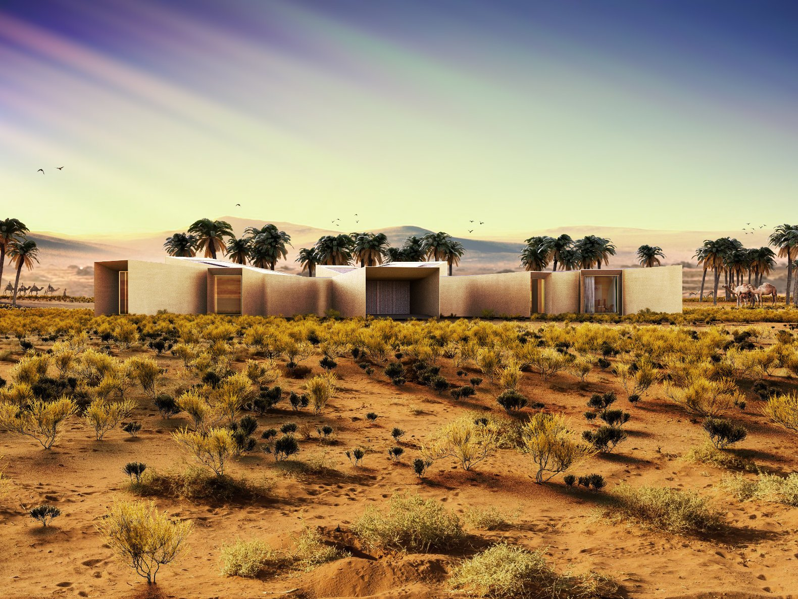 Der Entwurf für das Feriendomizil stammt von Baharash Architectures in London. Der Gründer desBüros, Baharash Bagherian, hat sich auf den Bau von umweltverträglichen Gebäuden in Wüstenregionen spezialisiert.