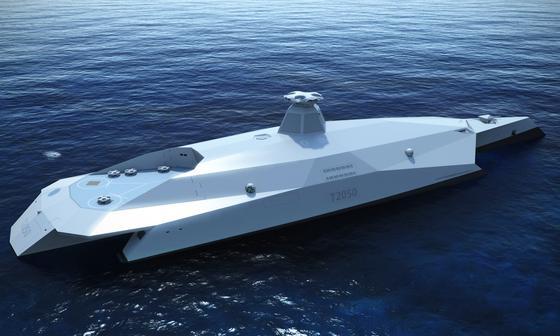 T2050 Dreadnought: Das Drei-Rumpf-Schiff ist 155 m lang und für Feinde trotzdem nahezu unsichtbar. Statt Helikoptern landen Drohnen auf der Landefläche.