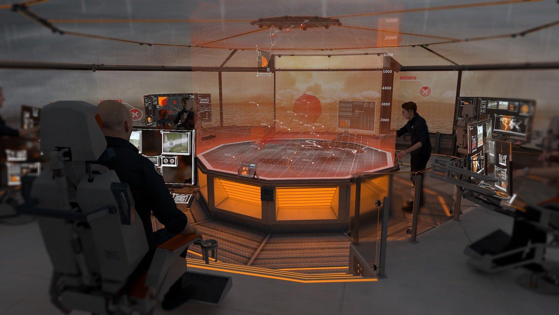 Kommandostand derT2050: Ein holographisches Display stellt die Umgebung dreidimensional dar.
