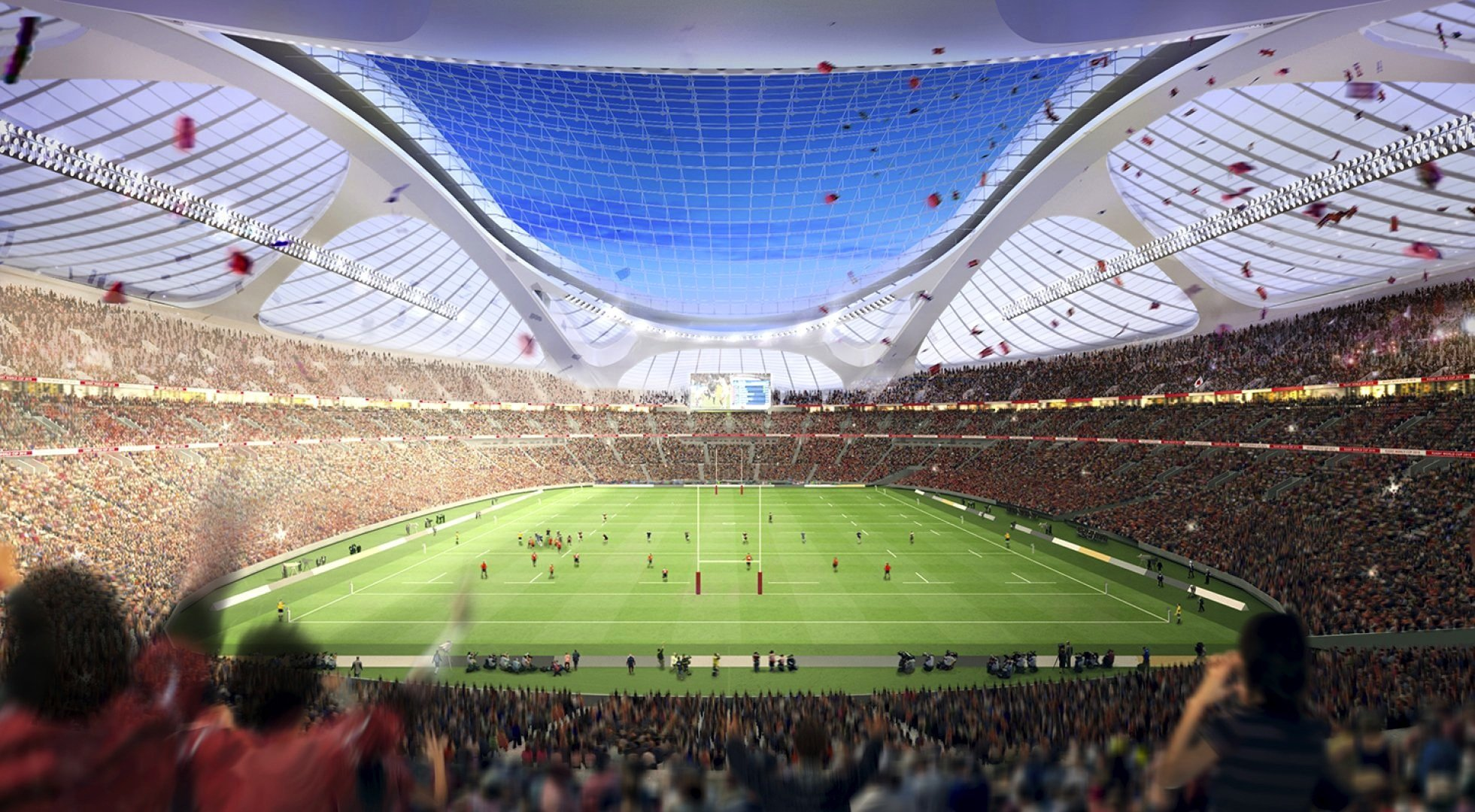 Das von Zaha Hamid entworfene Olympiastadion in Tokio sollte ursprünglich 80.000 Plätze bieten. Jetzt wird die Planung abgespeckt, die Zuschauerzahl auf 68.000 reduziert.