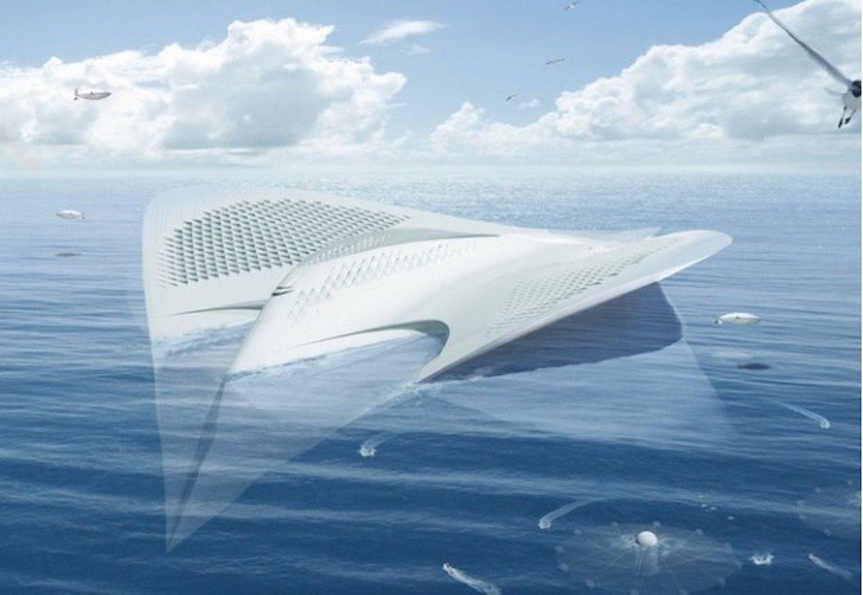 7000 Meeresforscher sollen in der schwimmenden Stadt leben können. Sie versorgt sich selbst mit Energie. Nahrungsmittel wachsen in Gewächshäusern.