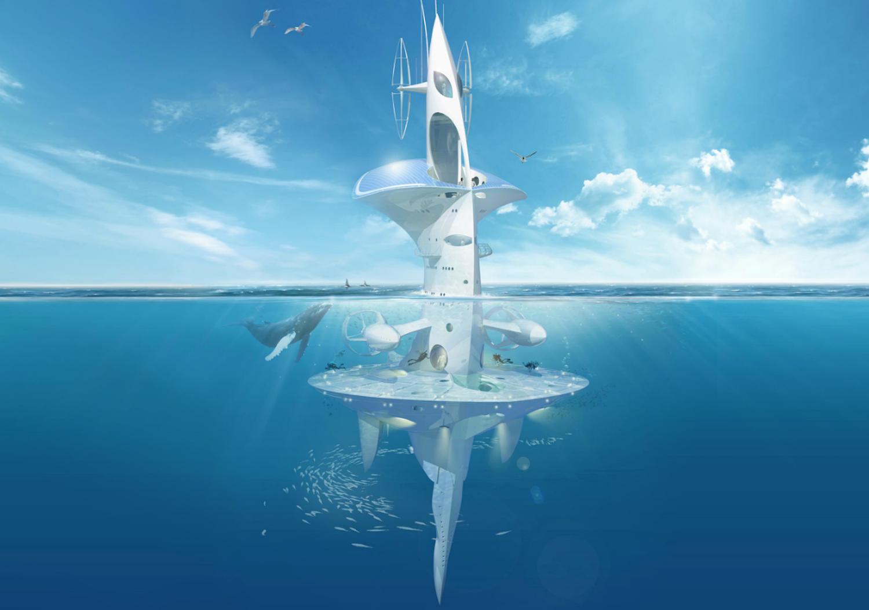 Der Sea Orbiter vonJacques Rougerie befindet sich derzeit im Bau. Er soll später in der City ofMérines andocken können.