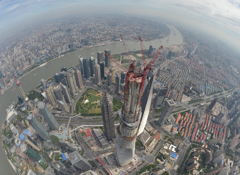 Bau des Shanghai Towers: Mit 632 m ist der Wohnturm das höchste Gebäude Chinas.