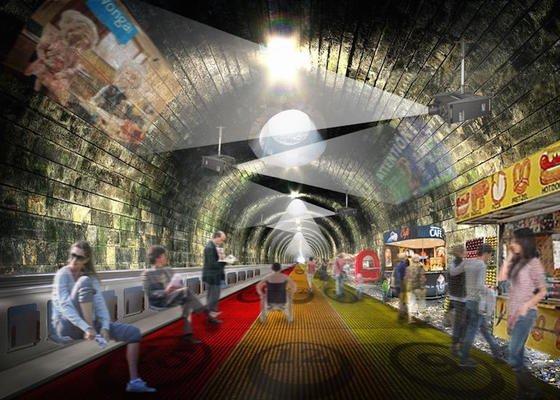 Statt in die U-Bahn einzusteigen, könnten Menschen zukünftig auf Laufbänder steigen. Sie sollen sich mit bis zu 24 km/h durch den U-Bahn-Tunnel bewegen.