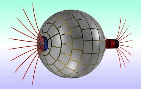Das weltweit erste magnetische Wurmloch produziert an den Enden der Kugel zwei magnetische Felder. Dazwischen ist magnetische Leere.