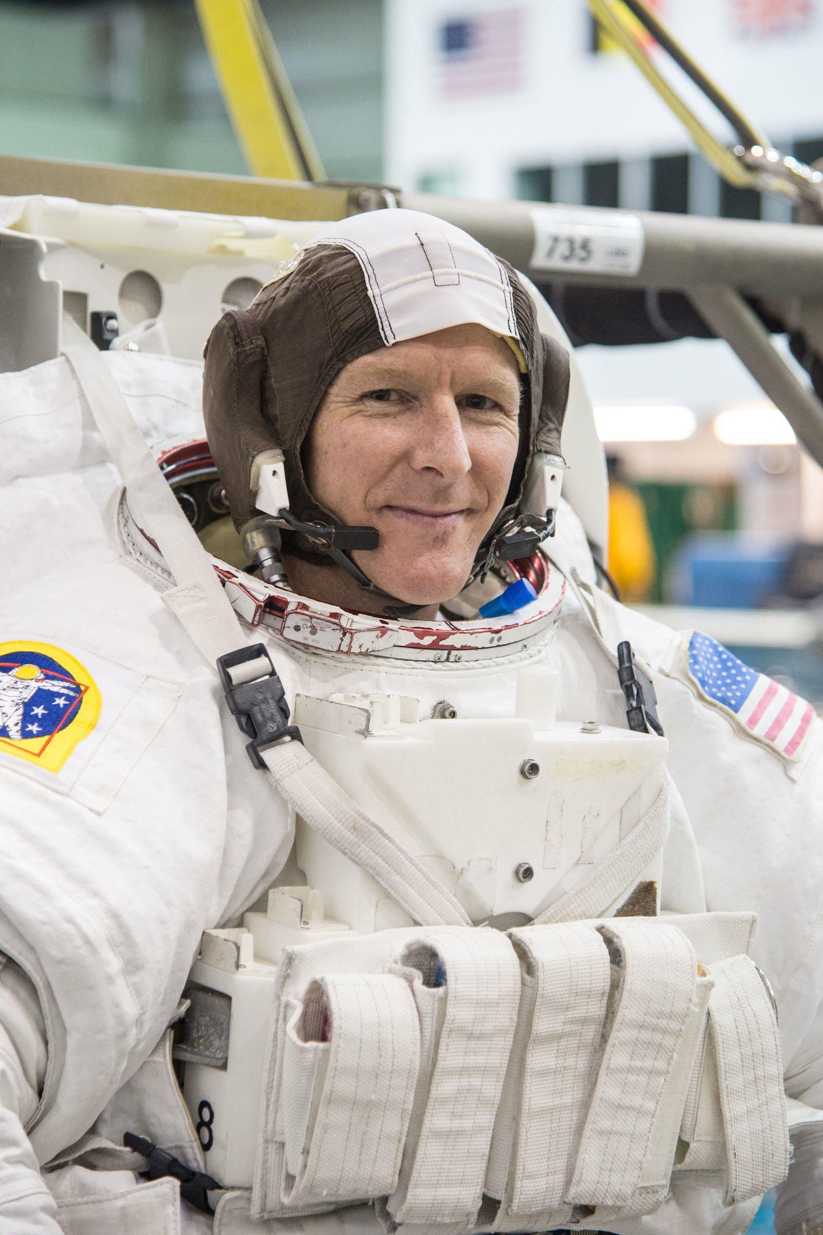 Timothy Peake beim Spacewalk Training 2014.