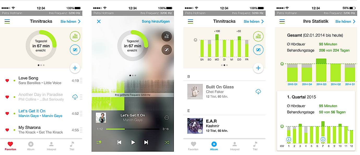 Die Tinnitus-App bearbeitet nicht nur Musikstücke so, dass sie gegen die Erkrankung wirken. Sie überwacht auch die täglichen Anwendungen.