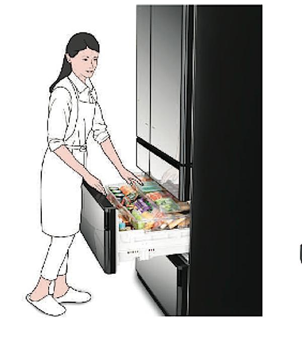 Das Obst- und Gemüsefach befindet sich im unteren Kühlschrank-Bereich.