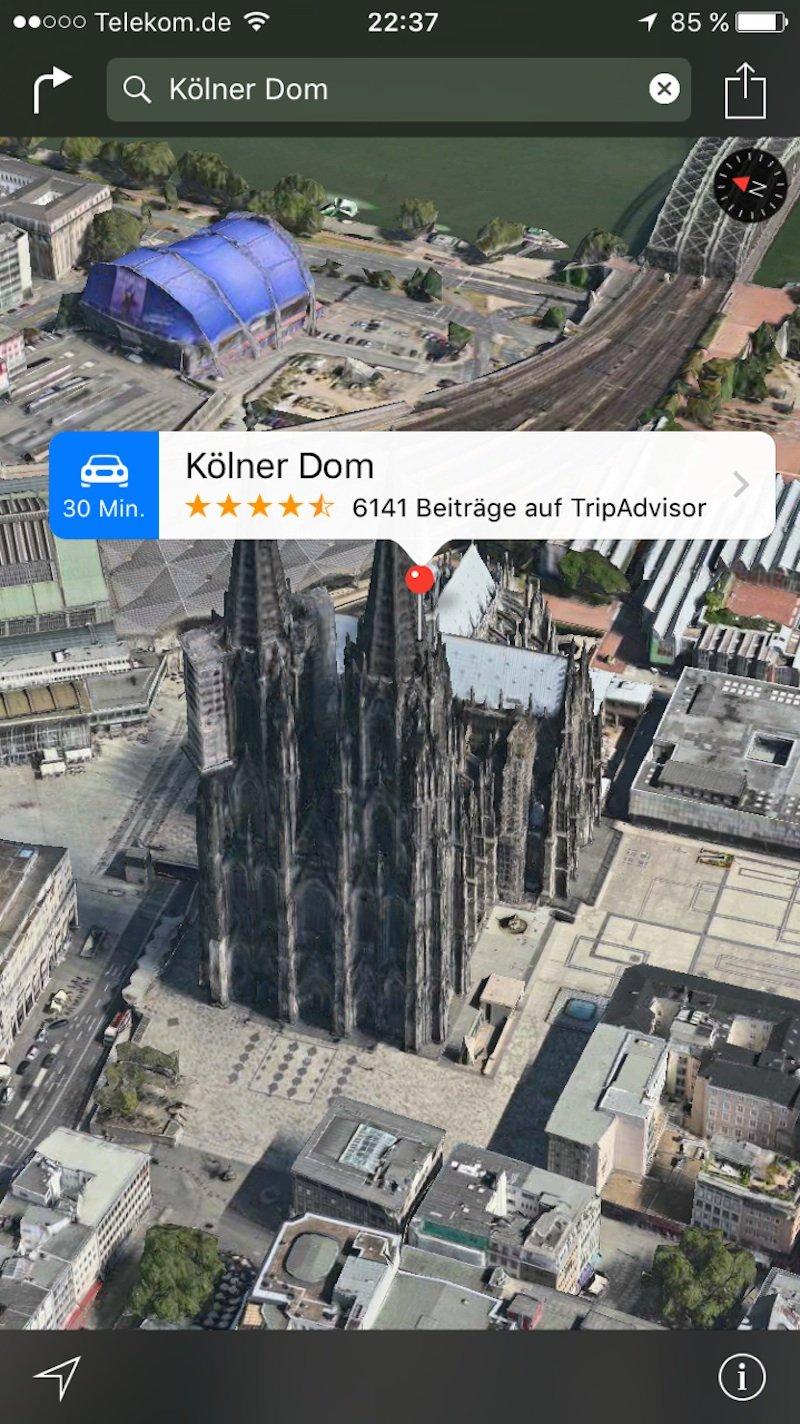 Kölner Dom: Das neue Flyover-Feature in der Karten-App zeigt ausgewählte Städte und Stätten aus der Vogelperspektive.
