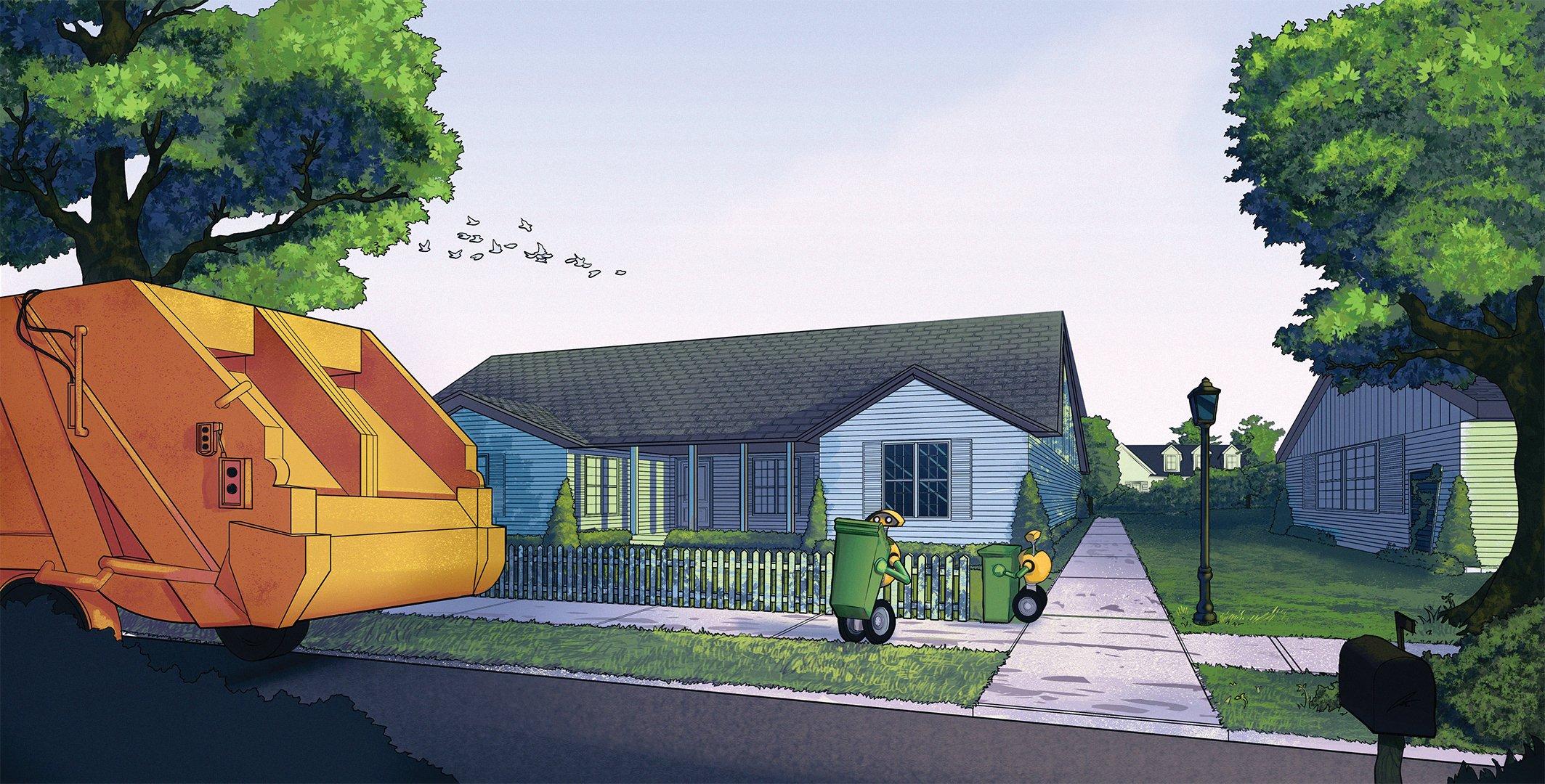 Bessere Bilder hat Volvo nicht zu bieten: Einer Kinderzeichnung gleicht die Illustration, mit der Volvo seine Müllroboter vorstellt.