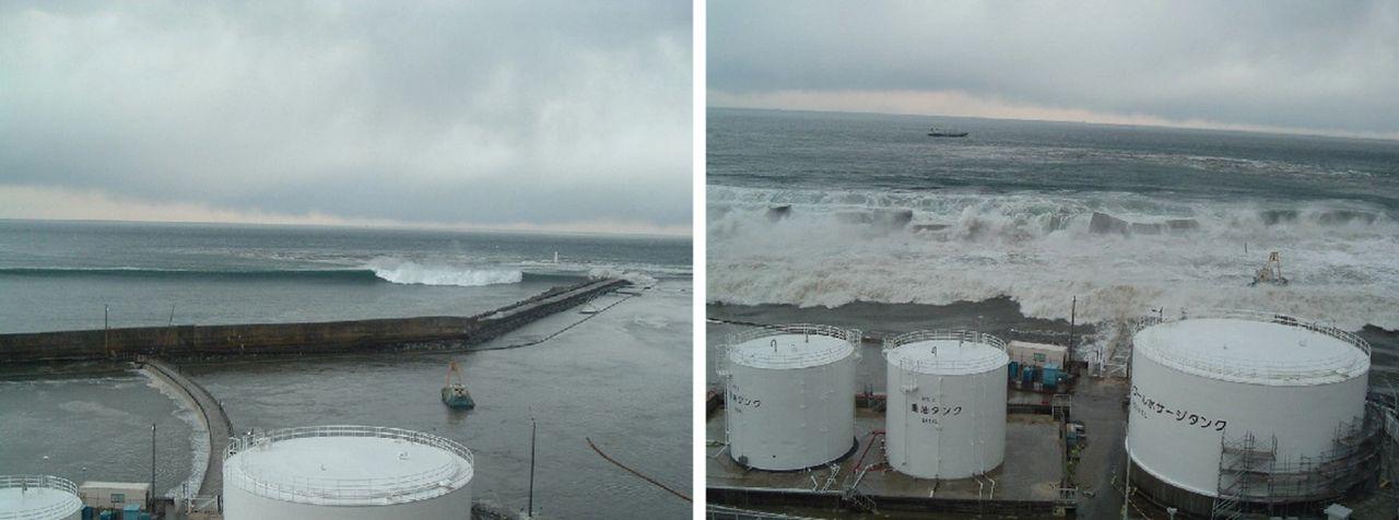 Der Tsunami attackiert das Akw in Daiichi: Laut Studie hatte BetreiberTepco beim Bau der Anlage die potenzielle Höhe eines Tsunami dramatisch unterschätzt und sich dabei auf falsche interne Daten verlassen.