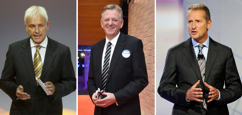 Mögliche Nachfolger Winterkorns (v.l.n.r.): Porsche-Chef Mattias Müller, VW-Nutzfahrzeugchef Andreas Renschler und VW-Markenchef Herbert Diess.