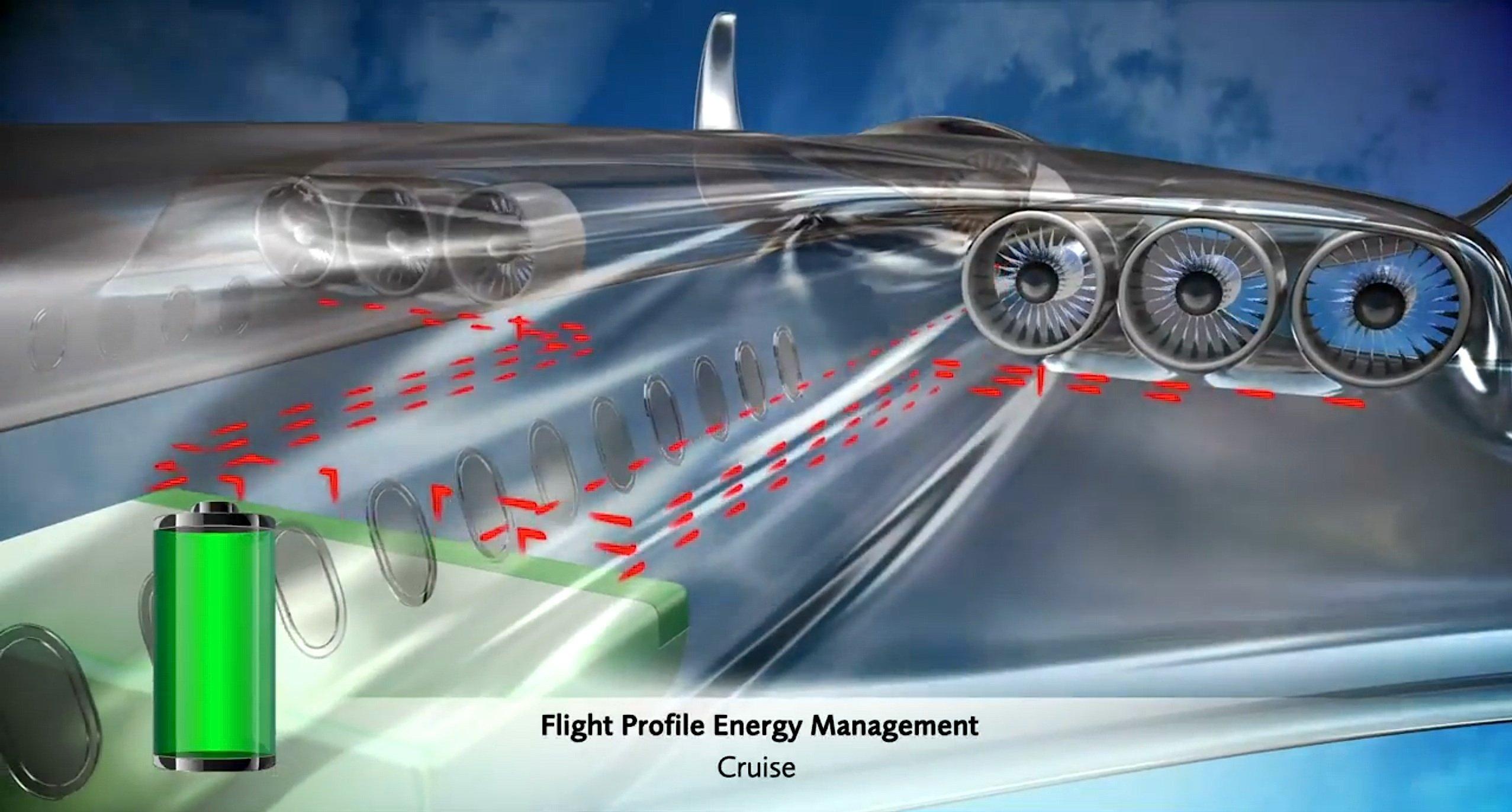 Ein Lithium-Ionen-Akku, der unter den Passagieren im Frachtraum untergebraucht ist, soll die Elektromotoren mit Antriebsenergie versorgen. Bei Erreichen der Reiseflughöhe sollen Teile der Elektromotoren ausgeschaltet werden. Sie erzeugen, angetrieben durch den Luftstrom, zusätzlich Energie.