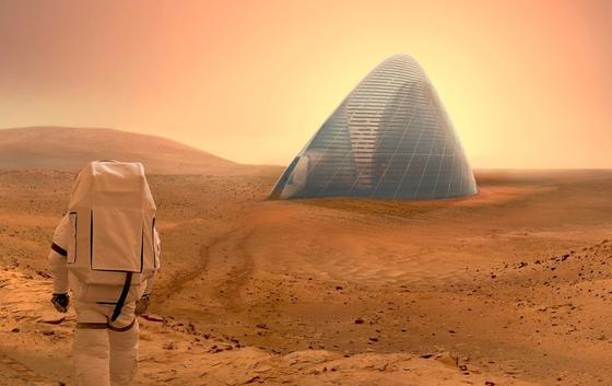 Mit einem Entwurf für ein transparentes Haus aus Eis haben acht Wissenschaftler des Ice-House-Teams aus New York den Nasa-Wettbewerb gewonnen. Ein Eishaus bietet genügend Schutz, lässt aber auch Licht durch und verbessert damit die Lebenssituation der Marsbewohner und erlaubt sogar den Anbau von Pflanzen.