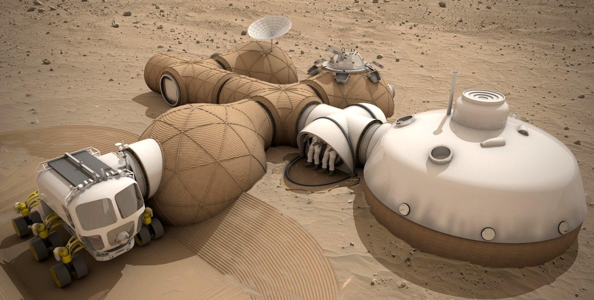 ESA-Entwurf für eine Bodenstation auf dem Mars: Die Ingenieure aus demAstronautenzentrum in Köln wollen große Teile des Raumschiffs als Basis der Marsstation nutzen. Verbindungskorridore und weitere kleinere Behausungen sollen aus dem auf dem Mars verfügbaren GesteinRegolith produziert werden.