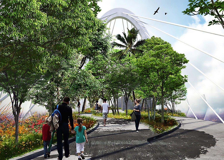 Die Hängebrücke wird zum Dachgarten: Bewohner der drei Hochhäuser können dort inmitten der Großstadt gemütlich im Grünen spazieren.