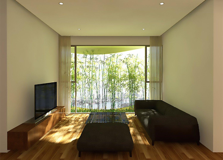 Innenansicht des Appartements: Bambuspflanzen vor den Fenstern sorgen für Schatten und senken die Energiekosten für Klimageräte.