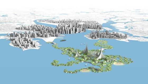 Die Stadt an der Küste und die schwimmende Stadt bilden eine Symbiose: In Algenfarmen, Hydrokulturen und Aquakulturen werden CO2 und Nährstoffe aus Abfallprodukten recycelt und Biokraftstoff, Nahrungsmittel und Dünger produziert.
