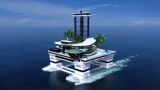 """""""Kokomo Ailand"""" ist einekünstliche Insel mit Palmen und Penthouse und zugleich auch ein riesiges Schiff, das mit bis zu acht Knoten langsam durchs Meer fahren kann. Noch ist diese Luxusinsel nur eine Idee, die aber bald Wirklichkeit werden soll."""