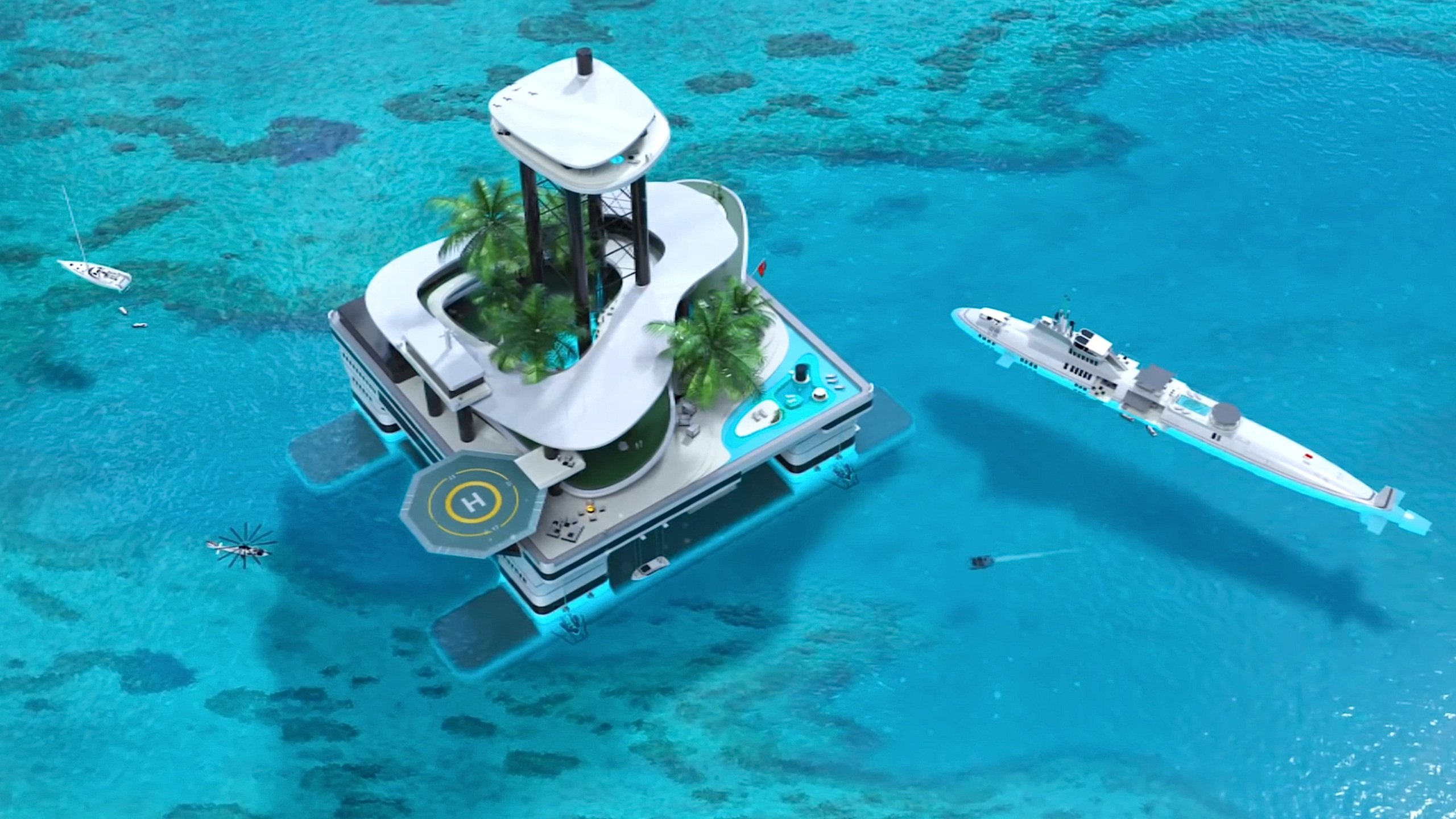 """""""Kokomo Ailand"""" ist etwa für ganz reiche Menschen auf dieser Welt. Die Insel verfügt über ein Penthouse in 80 m Höhe, einen Palmengarten, Pools, Wellness-Bereiche und sogar ein Esszimmer unter Wasser mit Blick auf Haie und Wale – sofern sie in der Nähe sind. Rechts im Bild ein privates U-Boot mit Pool, ebenfalls vom österreichischen Hersteller Migaloo."""