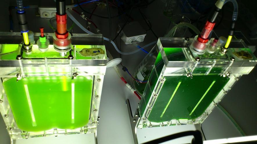 Herstellung von Biobitumen: Die Forscher verrühren Mikroalgen mit Wasser zu einem Brei und erhitzen ihn unter Druck auf maximal 200 °C. Die erdölartige Flüssigkeit wandeln sie anschließend in Biobitumen um.