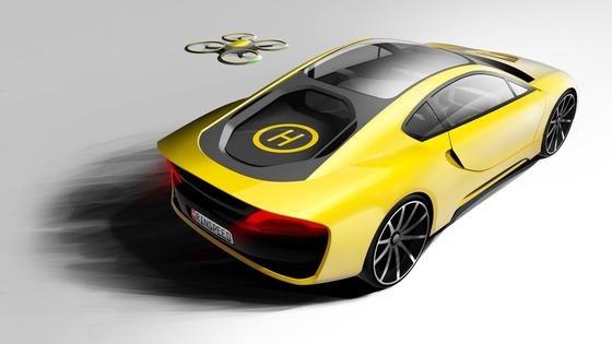 Hybrid-SUV Etos von Rinspeed: Eine kleine Drohne erledigt Einkäufe, während der Fahrer gemütlich im Wagen sitzenbleibt.