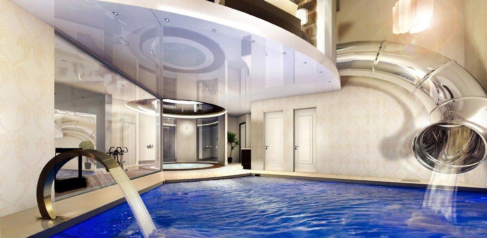 Per Rutsche aus dem Schlafzimmer geht es direkt hinein in den Pool.