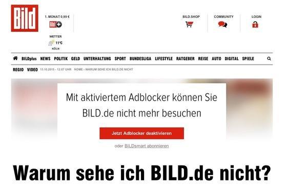 Internet-User, die einen Adblocker zur Unterdrückung von Werbung nutzen, können ab sofort das Online-Angebot von Bild.de nicht mehr nutzen.