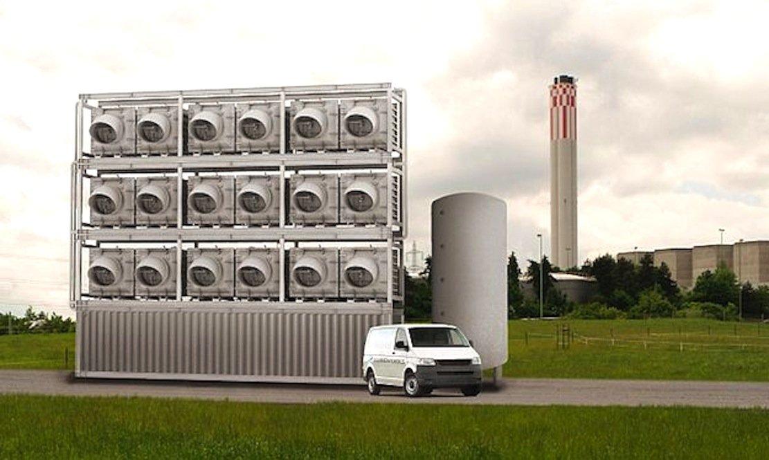 So stellt sich das Schweizer Unternehmen Climeworks größere Anlagen vor, die aus Luft-CO2 und Wasser Treibstoffe gewinnen.